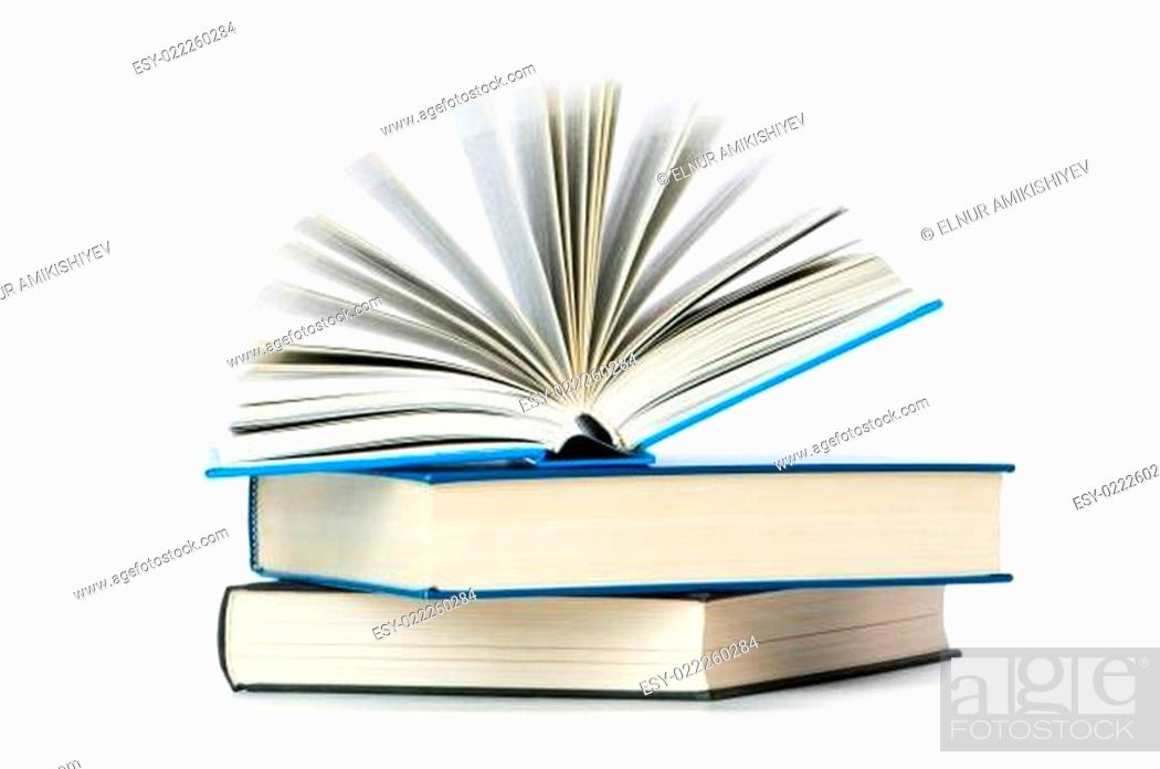Stock Photo: Stack of books isolated on the white.