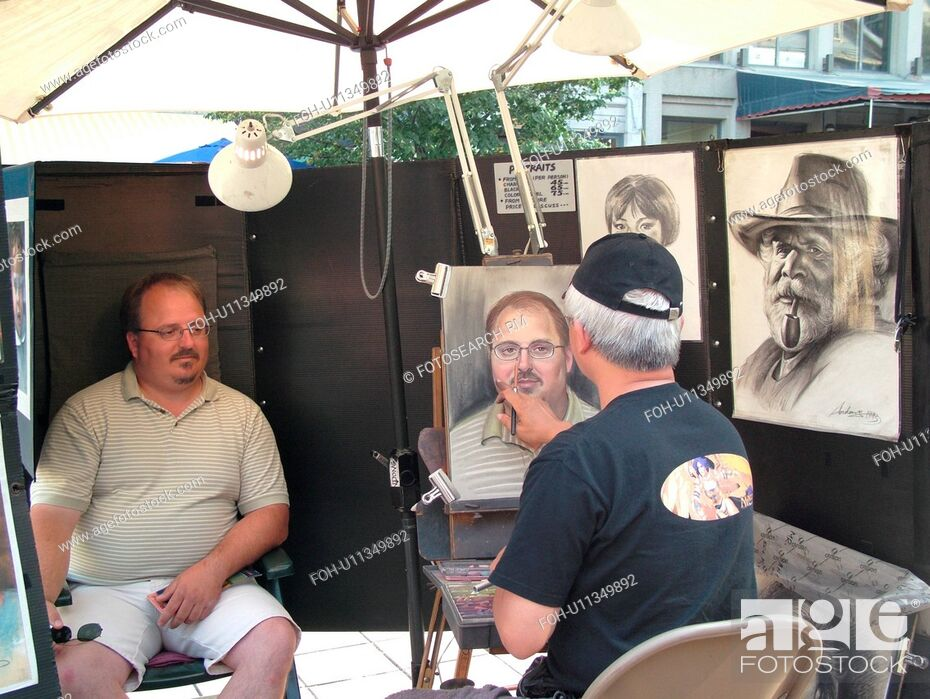Stock Photo: Montreal, Canada, QC, Quebec, Old Port, Old Montreal, Place Jacques Cartier, street artist sketching a man's portrait.