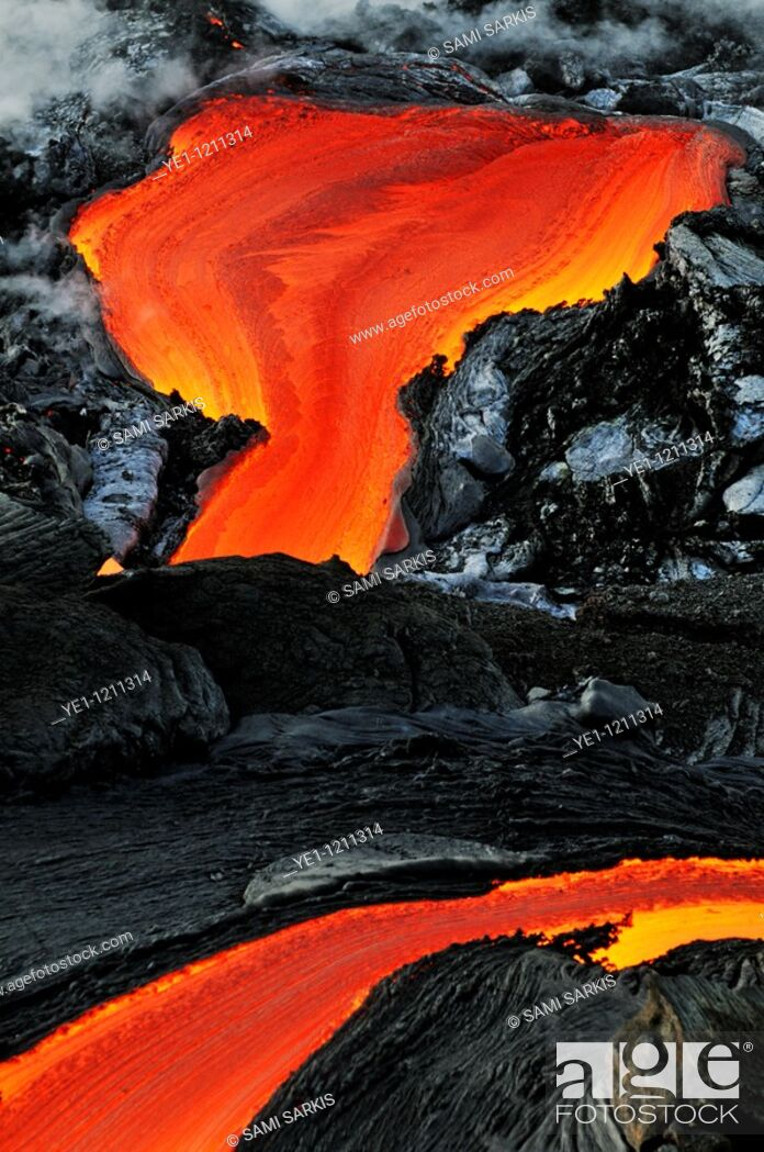 Imagen: River of molten lava, close-up, Kilauea Volcano, Hawaii Islands, United States.