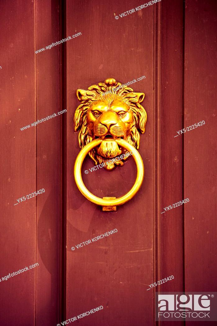 Stock Photo: door knocker in the form of lion head.