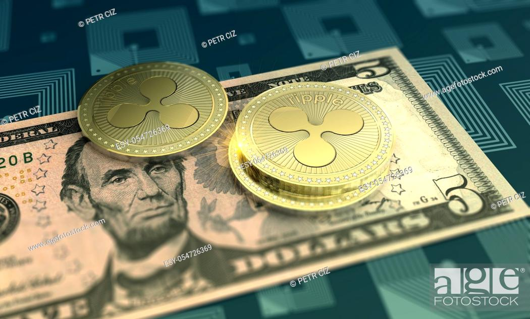 Stock Photo: Cryptocurrency Ripple with Five Dollars Bill as financial concept.