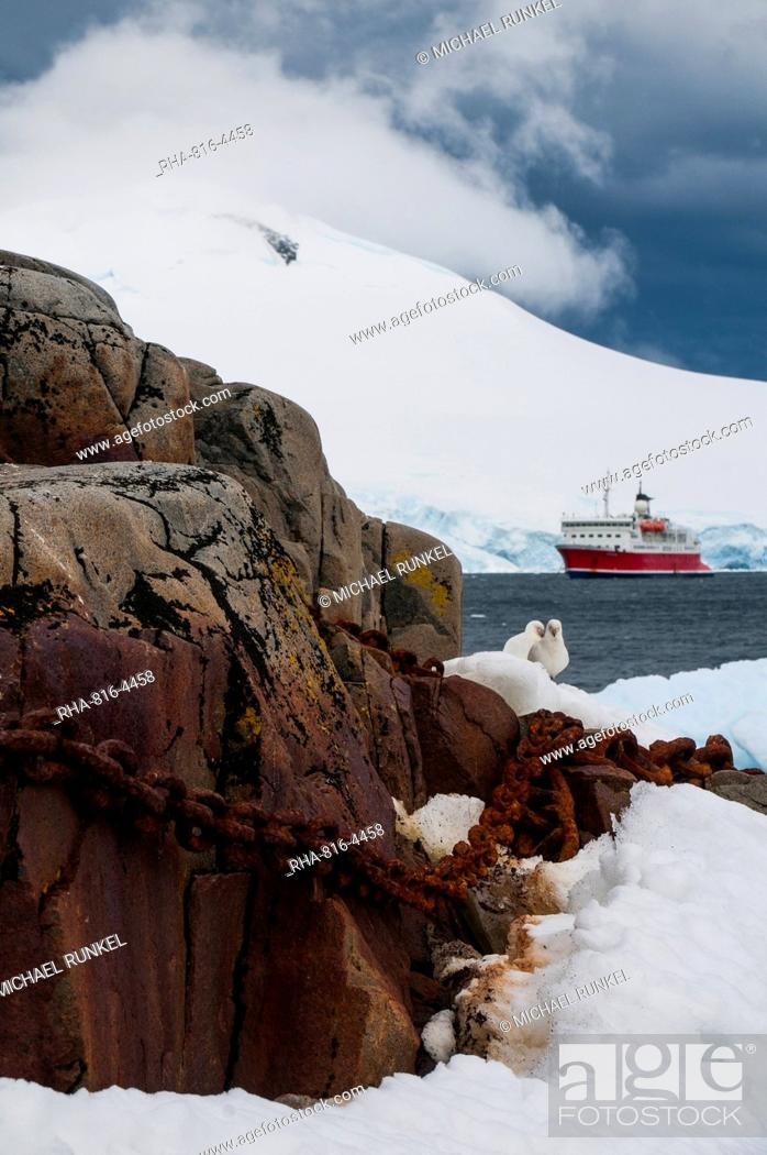 Stock Photo: Cruise ship in the glaciers and icebergs, Port Lockroy research station, Antarctica, Polar Regions.