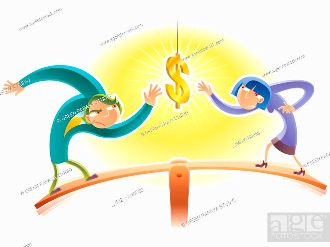 Stock Photo: Two people on a seesaw trying to get to the money.