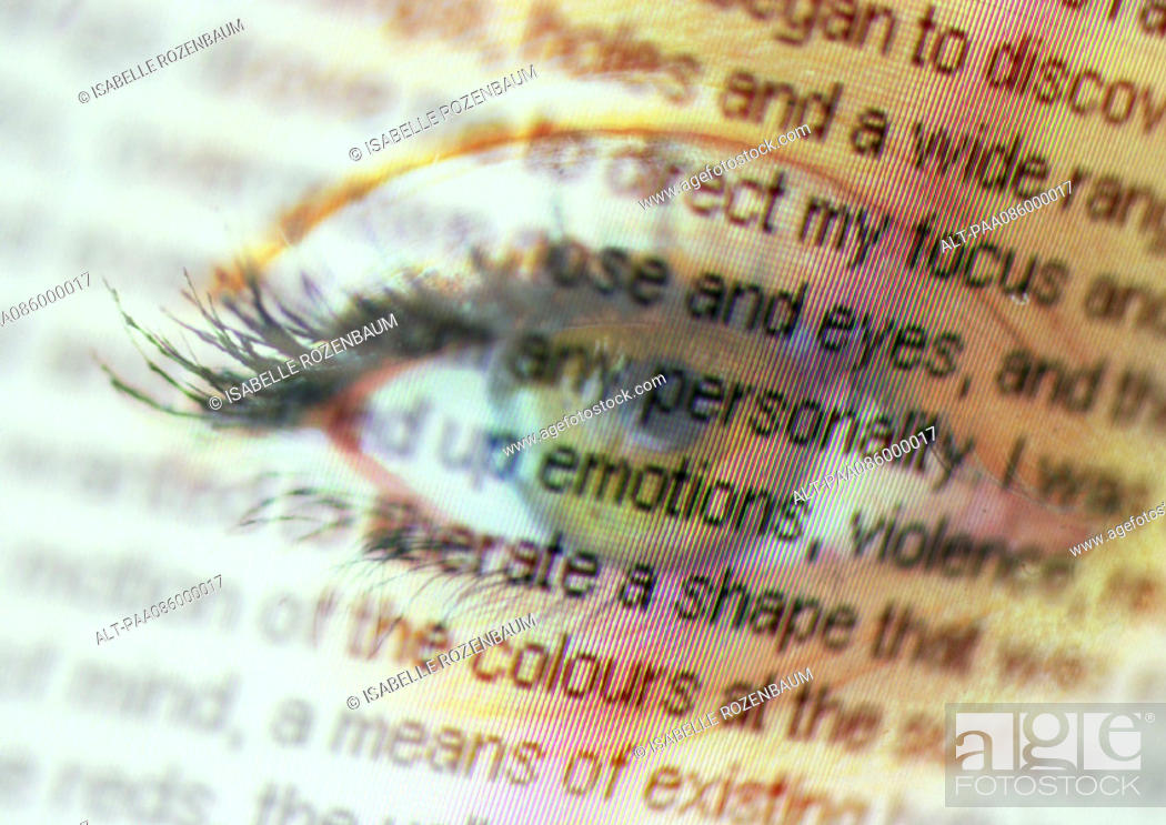 Stock Photo: Story text overlaying close up of an eye, montage.