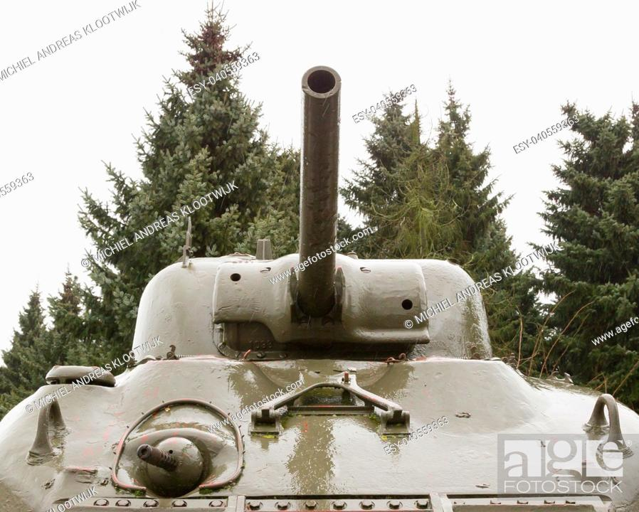 Stock Photo: WW2 tank close-up, detail shot of an Allied vehicle.
