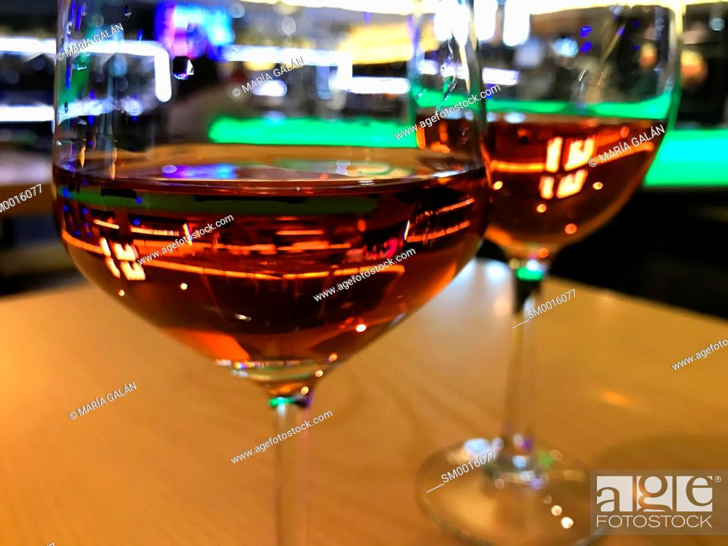 Stock Photo: Two glasses of rose wine. Close view.