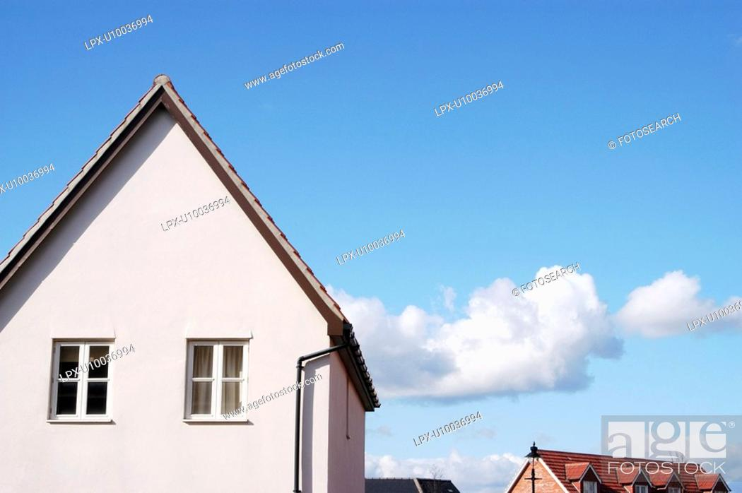Stock Photo: Roof design on a new housing development.