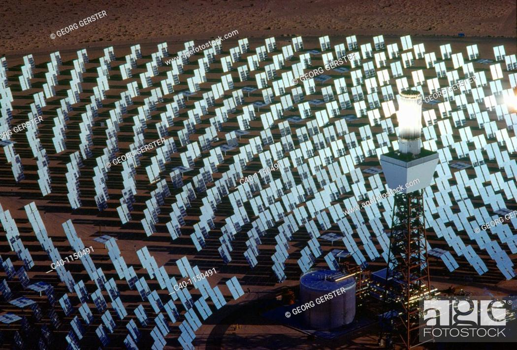 Stock Photo: Pioneering thermal solar power plant Solar One at Daggett, California  1818 heliostats mirror assemblies concentrate the sun's energy onto a receiver that.