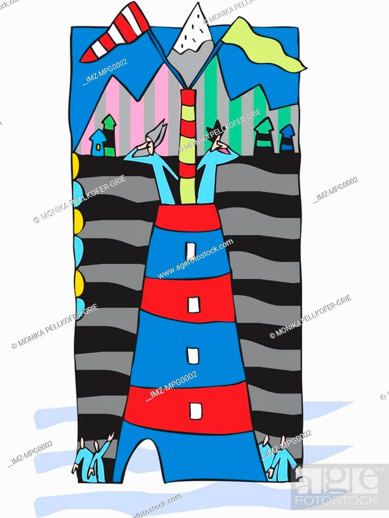 Stock Photo: A graphic representation of two people looking out of a tower.