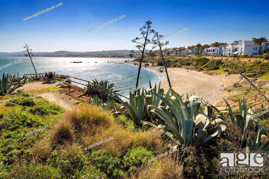 Stock Photo: Beach. Playa Ancha, Casares. Malaga province Costa del Sol. Andalusia Southern Spain, Europe.