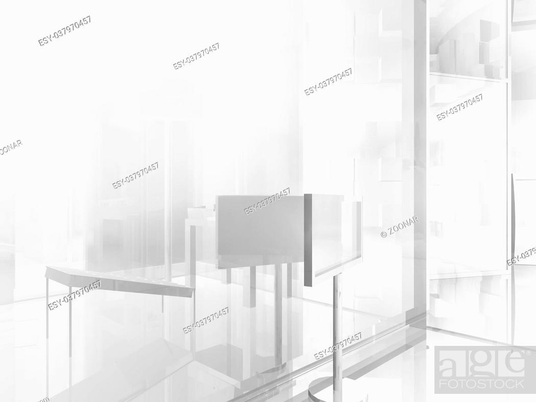 Stock Photo: open space, clean room with shapes in 3d, business space, hospitals or art gallery.