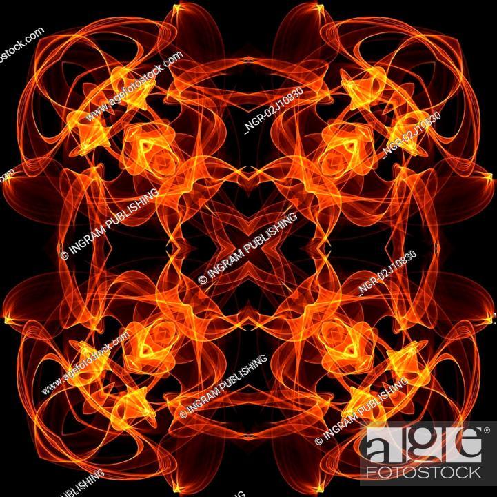 Stock Photo: art vintage fiery geometric ornamental pattern.