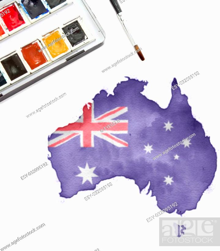 Stock Photo: A watercolor painting of Australia in the national colors.(series).