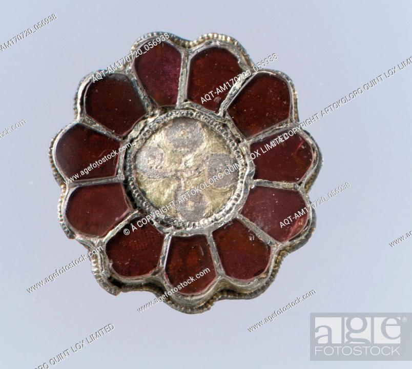 Stock Photo: Rosette Brooch, 550–650, Frankish, Silver-gilt, garnets with patterned foil backings, Gilded silver with garnets, glass, and pearl, Overall: 1 1/8 x 3/16 in.