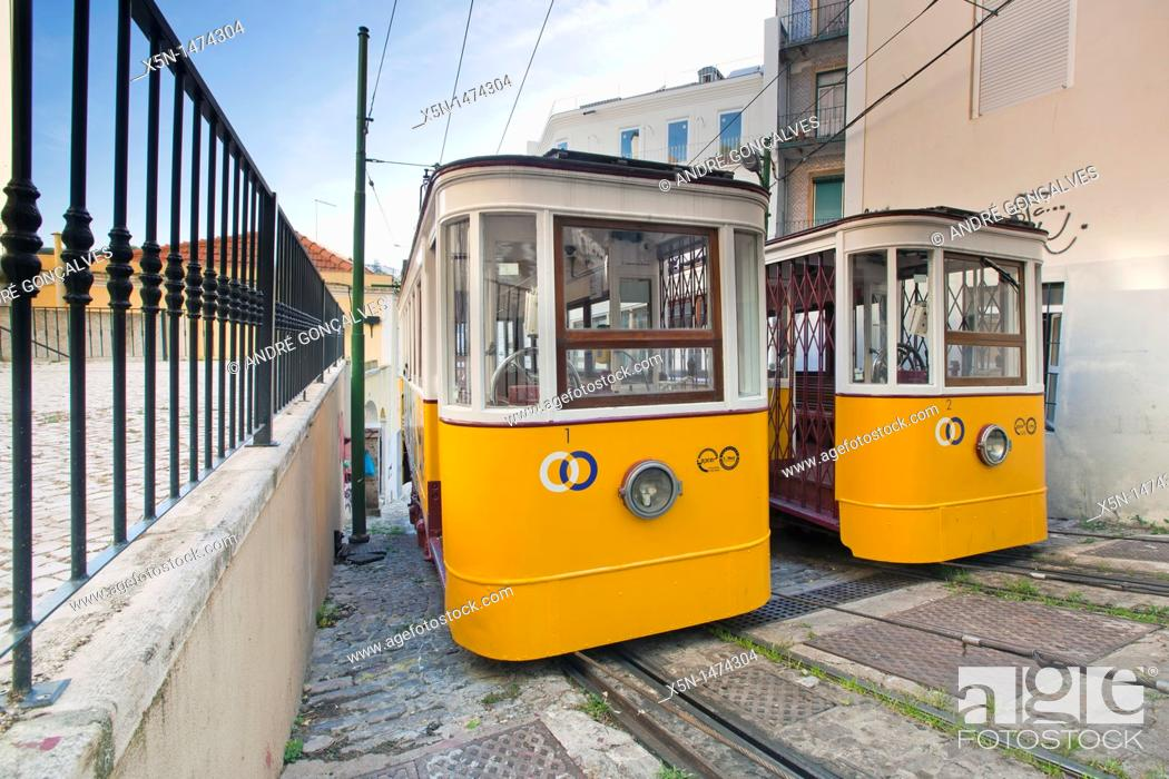 Stock Photo: The Lavra Funicular, Lisbon, Portugal, Europe.