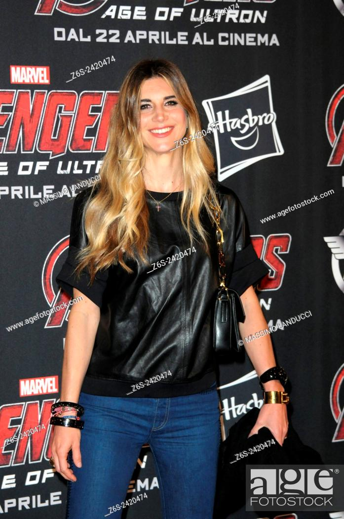 Stock Photo: romanoff; nicoletta romanoff; actress ; celebrities; 2015;rome; italy;event; red carpet ; avengers, age of ultron.