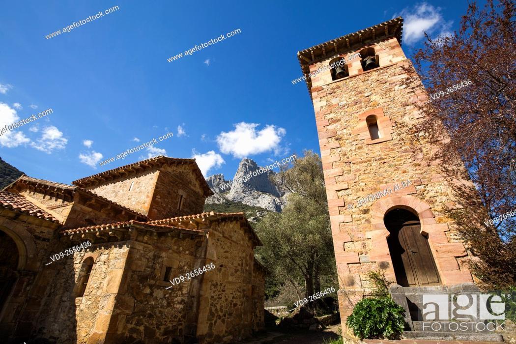 Stock Photo: Mozarabic church of Santa Maria de Lebeña. Liébana region, Picos de Europa, Cantabria Spain, Europe.