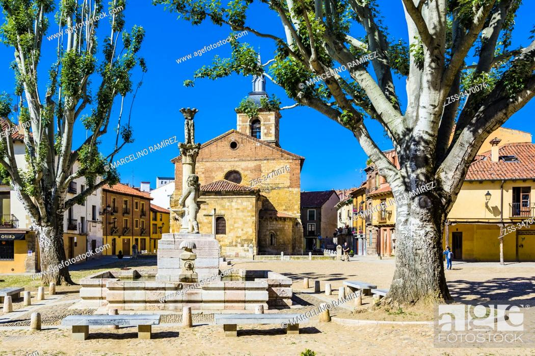 Stock Photo: Square wheat - Plaza del trigo, to the bottom the apse of the church of Our Lady of the Market - Nuestra Señora del Mercado.