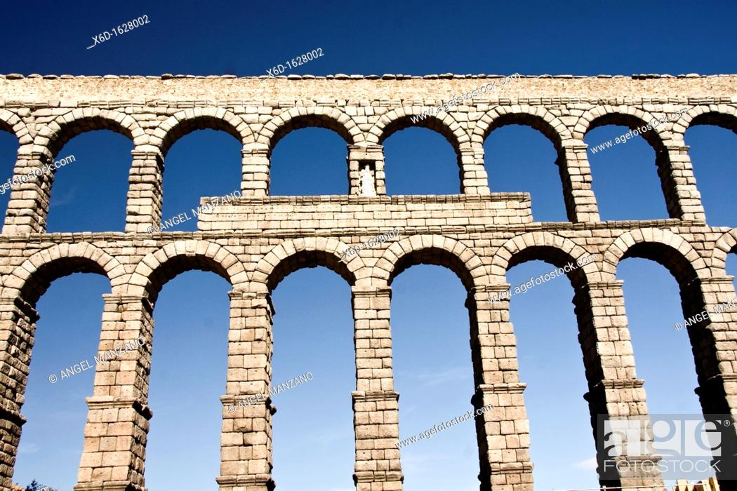 Stock Photo: Roman aqueduct, Segovia.