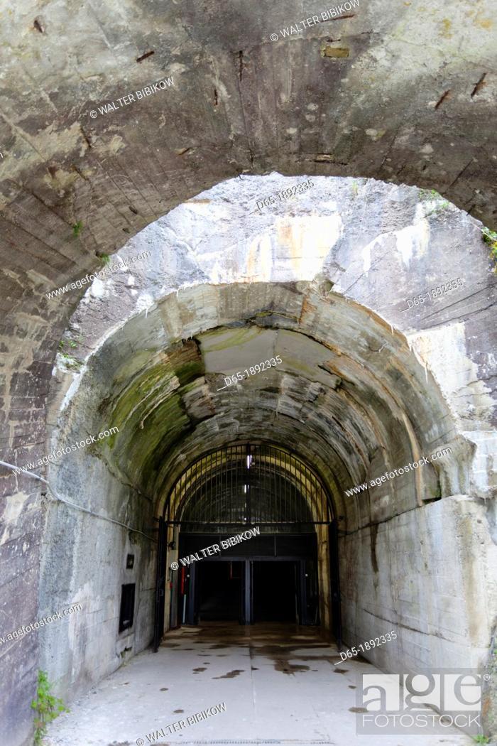 Stock Photo: France, Nord-Pas de Calais Region, Pas de Calais Department, Wizernes-Helfaut, La Coupole, World War Two German V2 rocket bunker, bunker entrance.