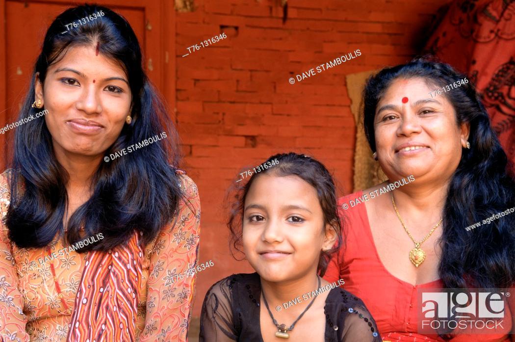 Stock Photo: 3 generations of women in Kathmandu, Nepal.
