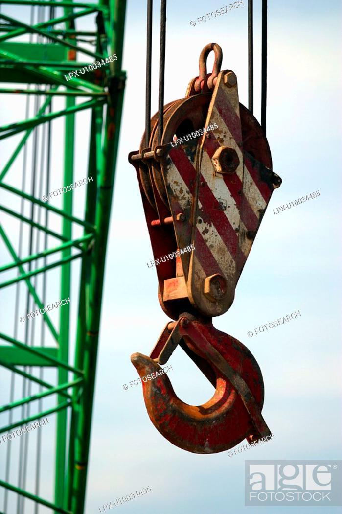 Stock Photo: Detail of heavy duty crane hook.