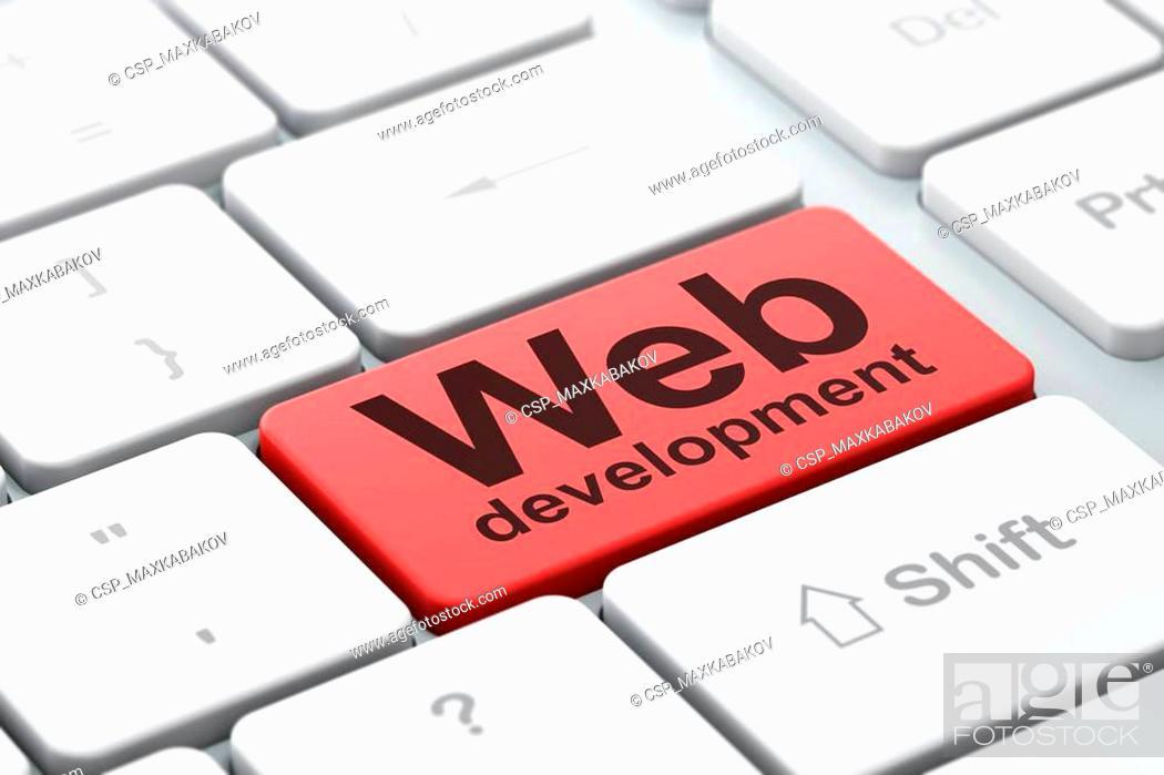 Stock Photo: Web development concept: Web Development on computer keyboard background.