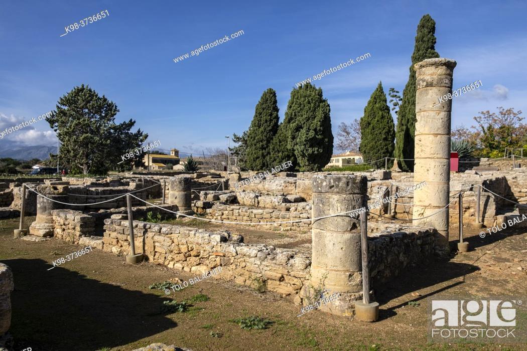 Stock Photo: House of the two treasures, Roman city of Pollentia, Alcudia, Mallorca, Balearic Islands, Spain.