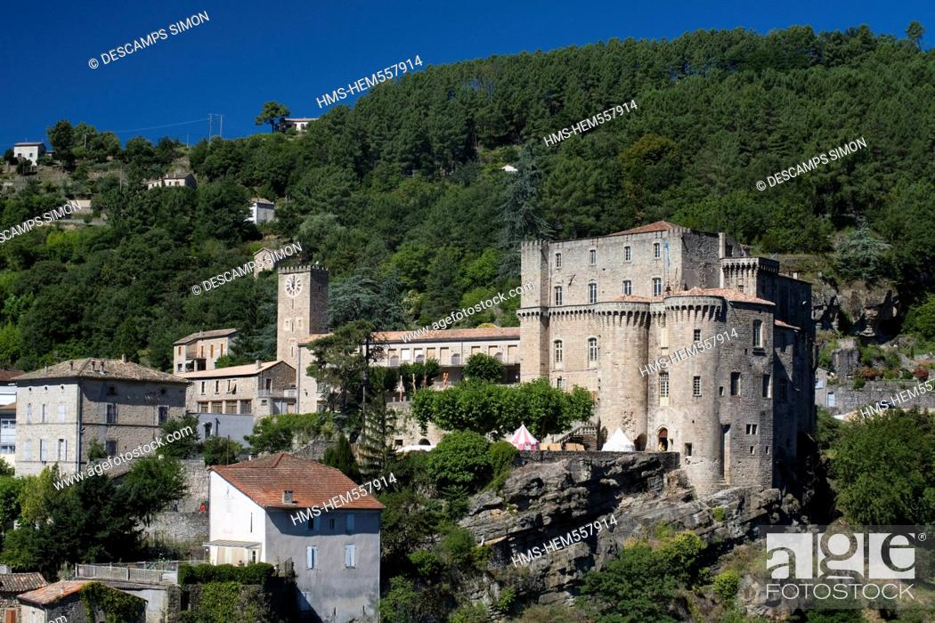 Stock Photo: France, Ardeche, Largentiere, overlooking the castle, XVth century.