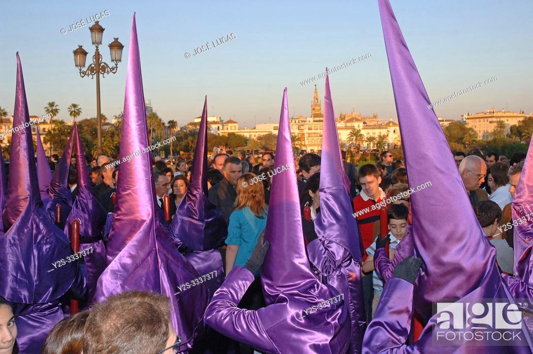 Stock Photo: Holy Week. Brotherhood of La O (Nazarenes). Seville. Region of Andalusia. Spain. Europe.