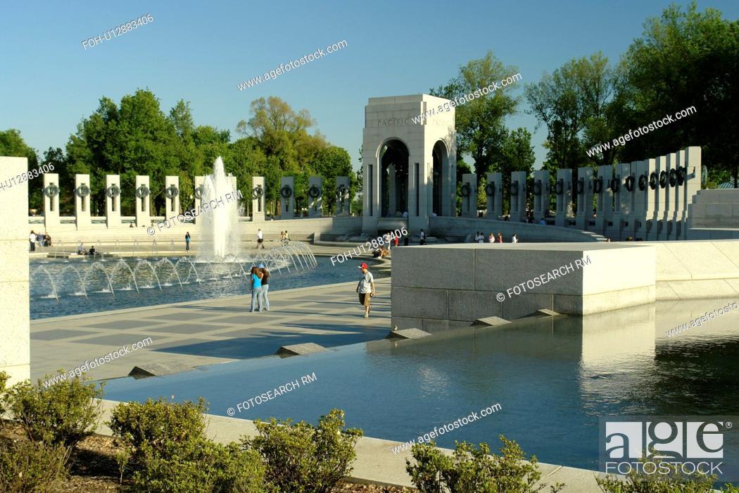 Stock Photo: Washington DC, D.C District of Columbia, World War II Memorial, Fountain, National Mall, Memorial Parks, Nation's Capital.
