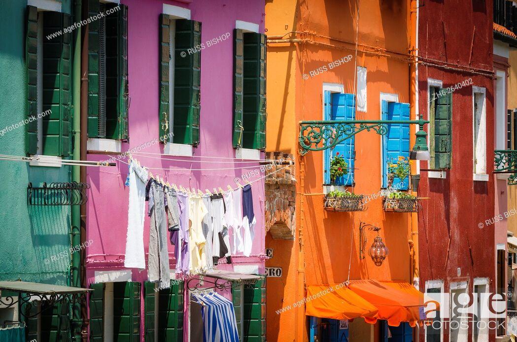 Stock Photo: Colorful houses, Burano, Veneto, Italy.
