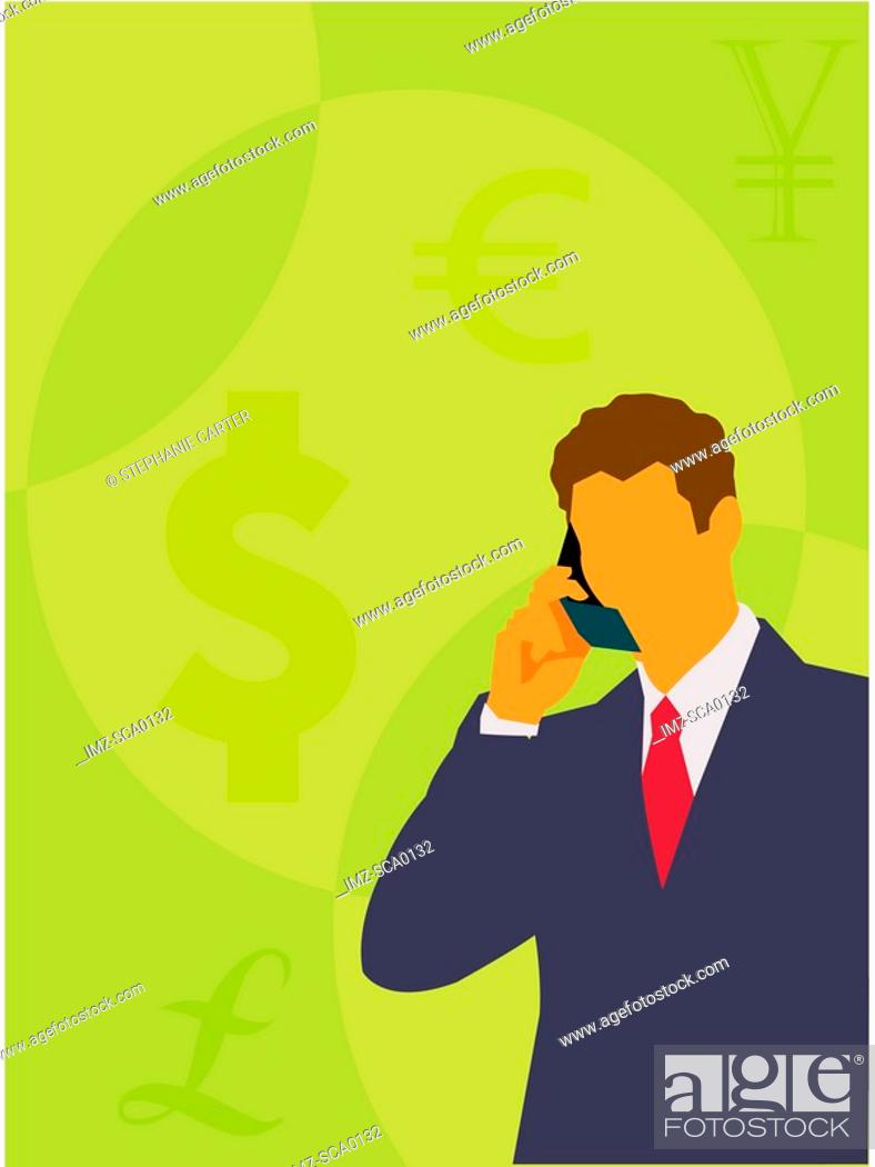 Stock Photo: A business man talking on cell phone.