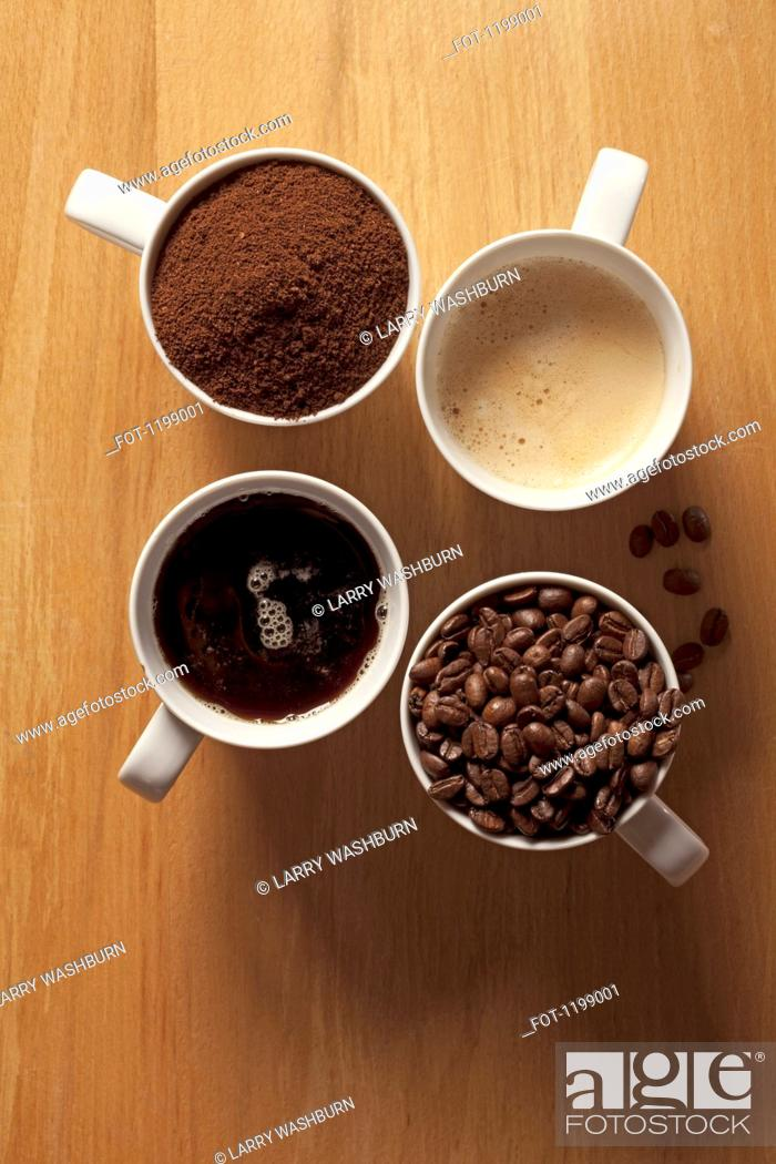 Stock Photo: Cups of coffee and coffee beans.