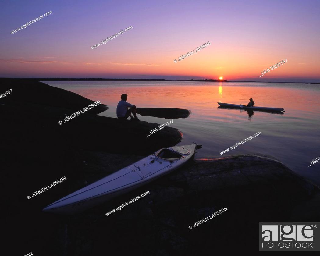 Stock Photo: Canoeing in Misterhult Småland Sweden Sverige.