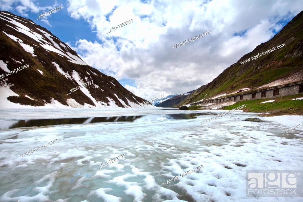 Stock Photo: Lake in the Switzerland Alps.