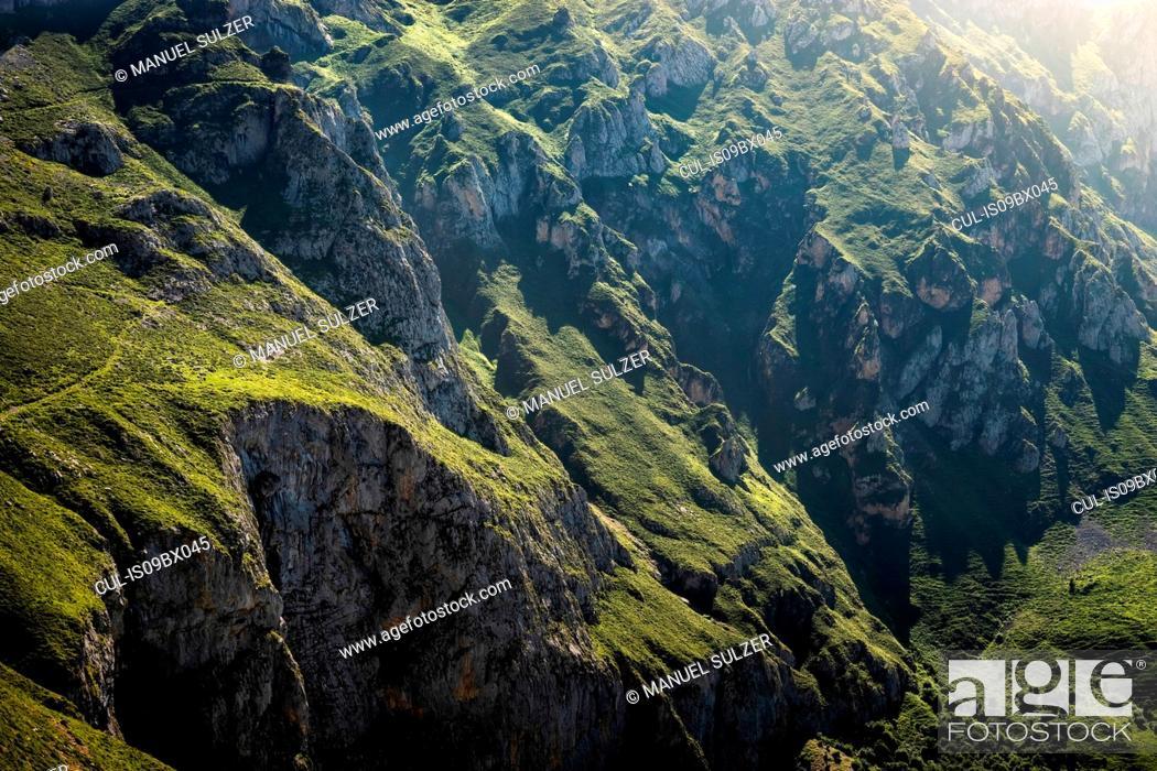 Stock Photo: Rugged landscape near Fuente De in national reserve Parque National de los Picos de Europa, Potes, Cantabria, Spain.