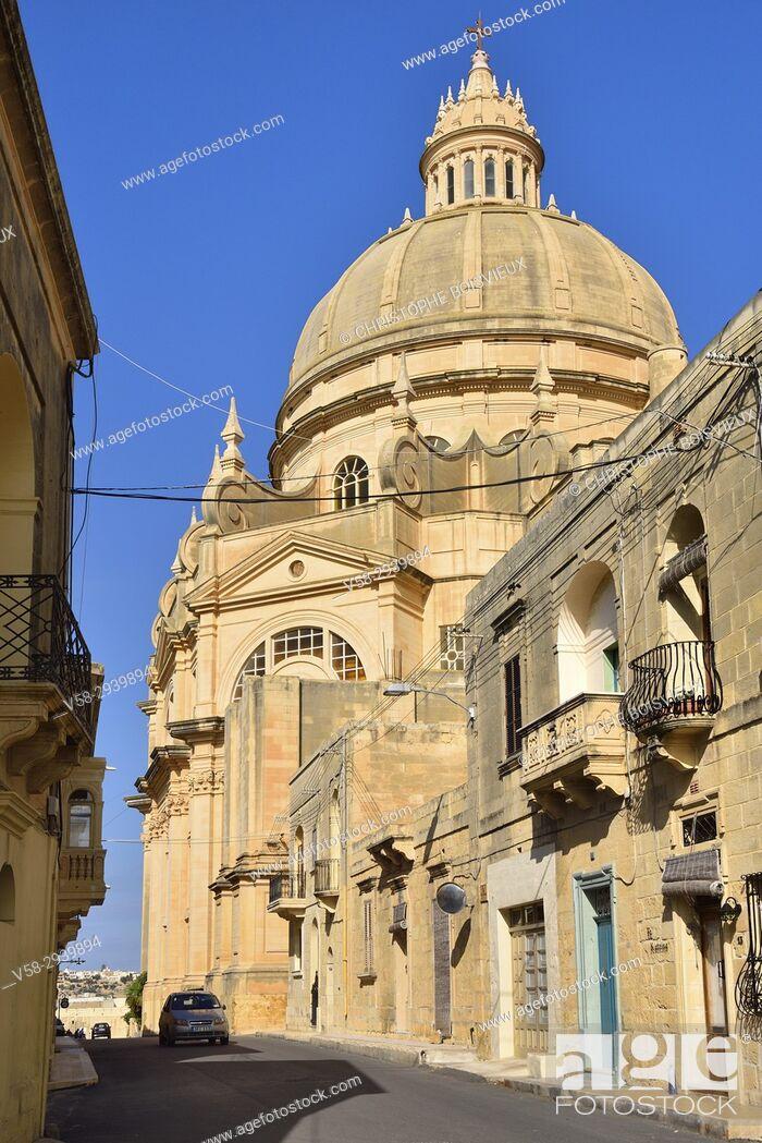 Stock Photo: Malta, Gozo island, Xewkija, The Rotunda.