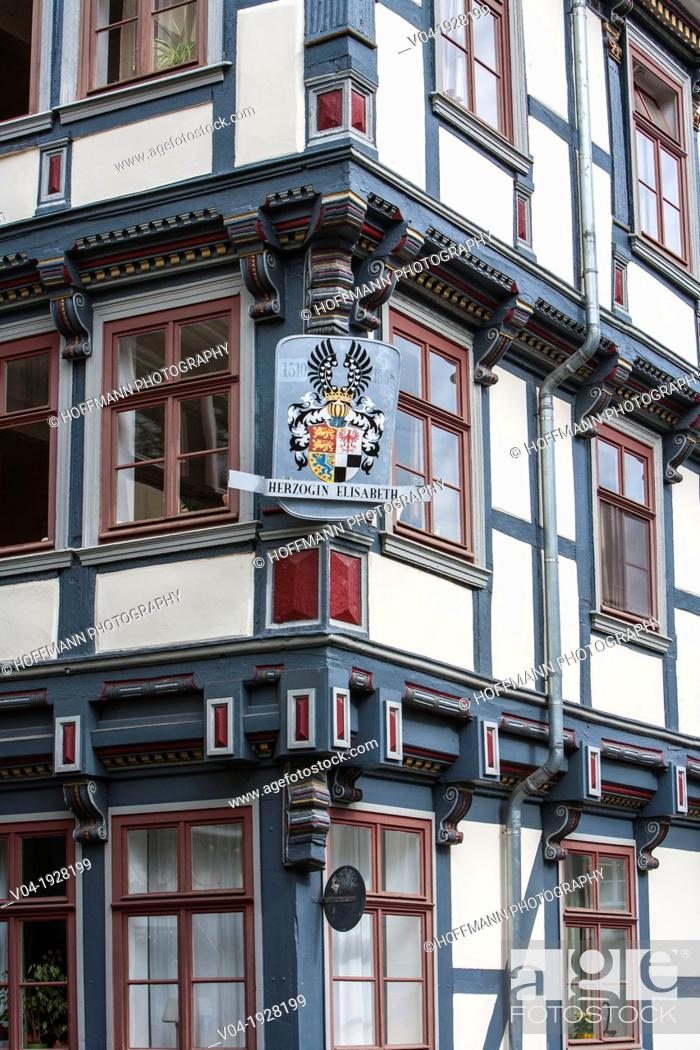 Stock Photo: Close up of a beautiful timbered house in Hannoversch Muenden on the German Fairy Tale Route, Lower Saxony, Germany, Europe.