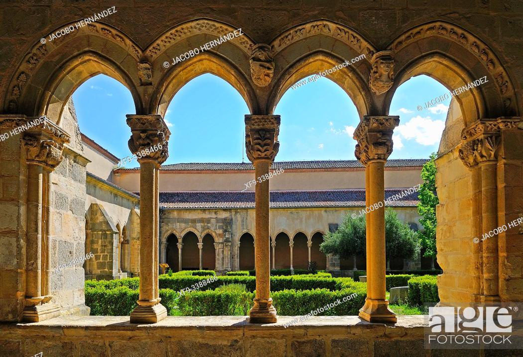 Stock Photo: Romanesque cloister of the monastery of Nuestra señora de la Soterraña. Santa María la Real de Nieva. Segovia province. Castilla y León. Spain.