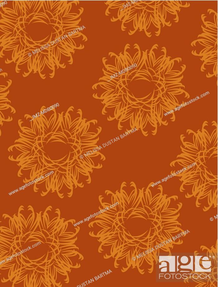Stock Photo: Fancy orange flowers on a brown background.