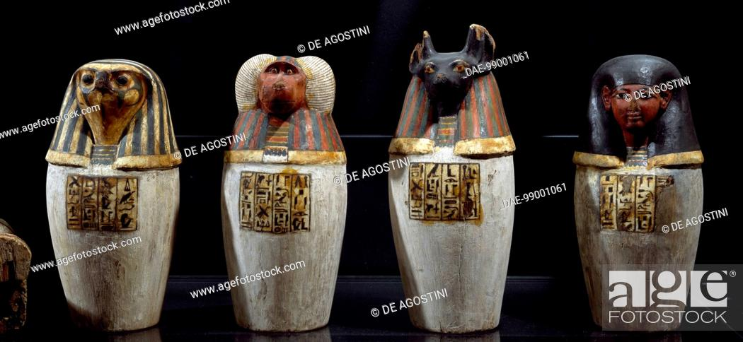 False Canopic Vase Of Padiuf Priest Of Amon Painted Wood 325 X13
