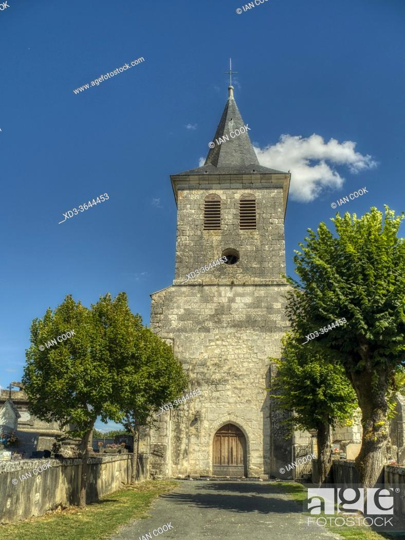 Stock Photo: Church of Christ, Eyrenville, Lot-et-Garonne Department, Nouvelle Aquitaine, France.