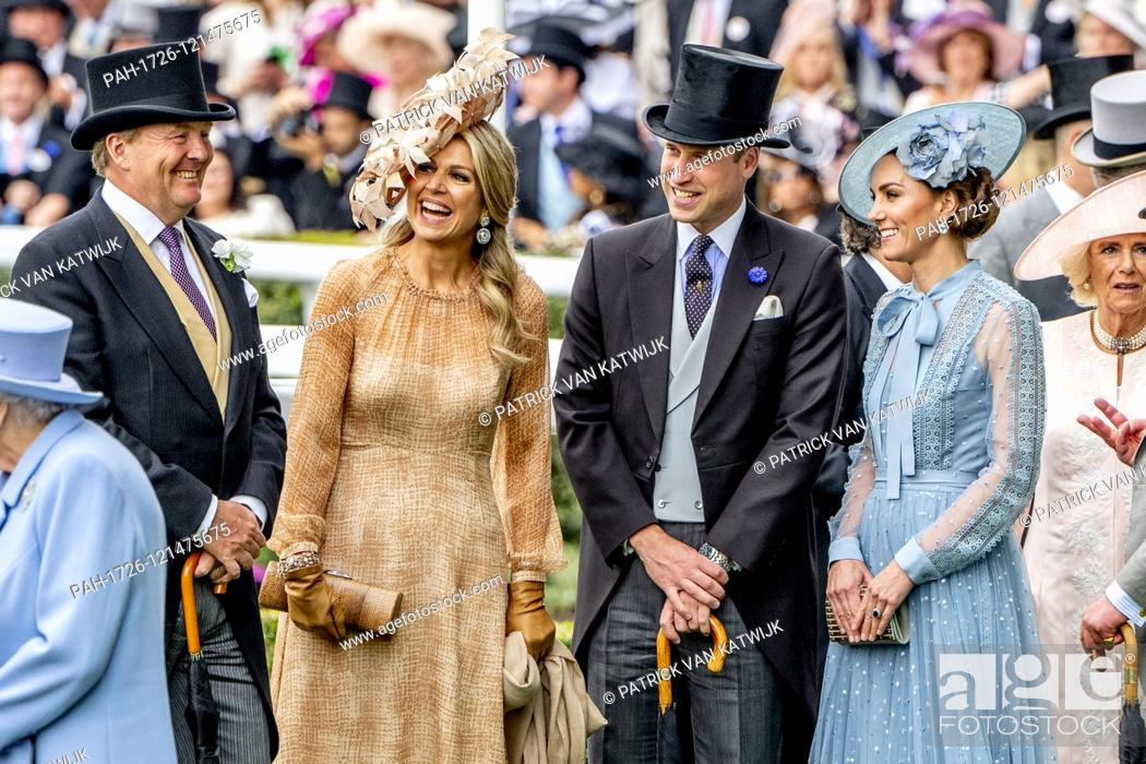 Stock Photo: King Willem-Alexander and Queen Maxima of The Netherlands visit Royal Ascot together with Queen Elizabeth, Prince Charles.
