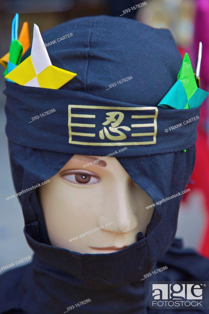 Stock Photo: A mannequin head dressed up like a ninja.