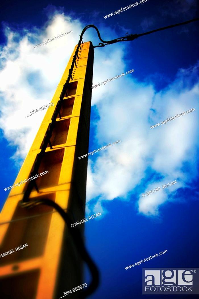 Stock Photo: Electric pole on the network of rural Castielfabib, Comunidad Valenciana. Spain. Europe.