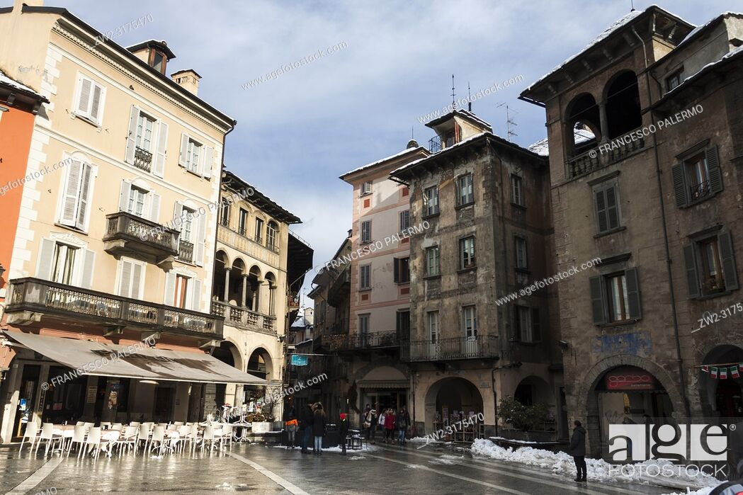 Stock Photo: View of the Market Square after the snowstorm. Domodossola, Piedmont. Italy.