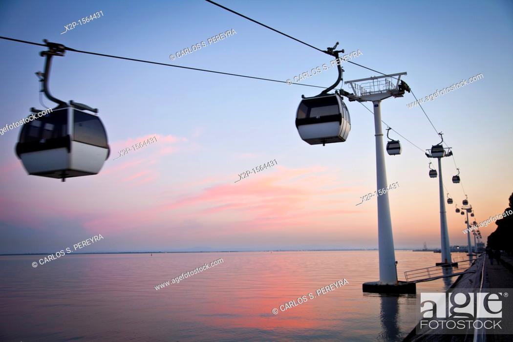 Stock Photo: Cable car in Vasco de Parque das Nações, Lisbon, Portugal, Europe.
