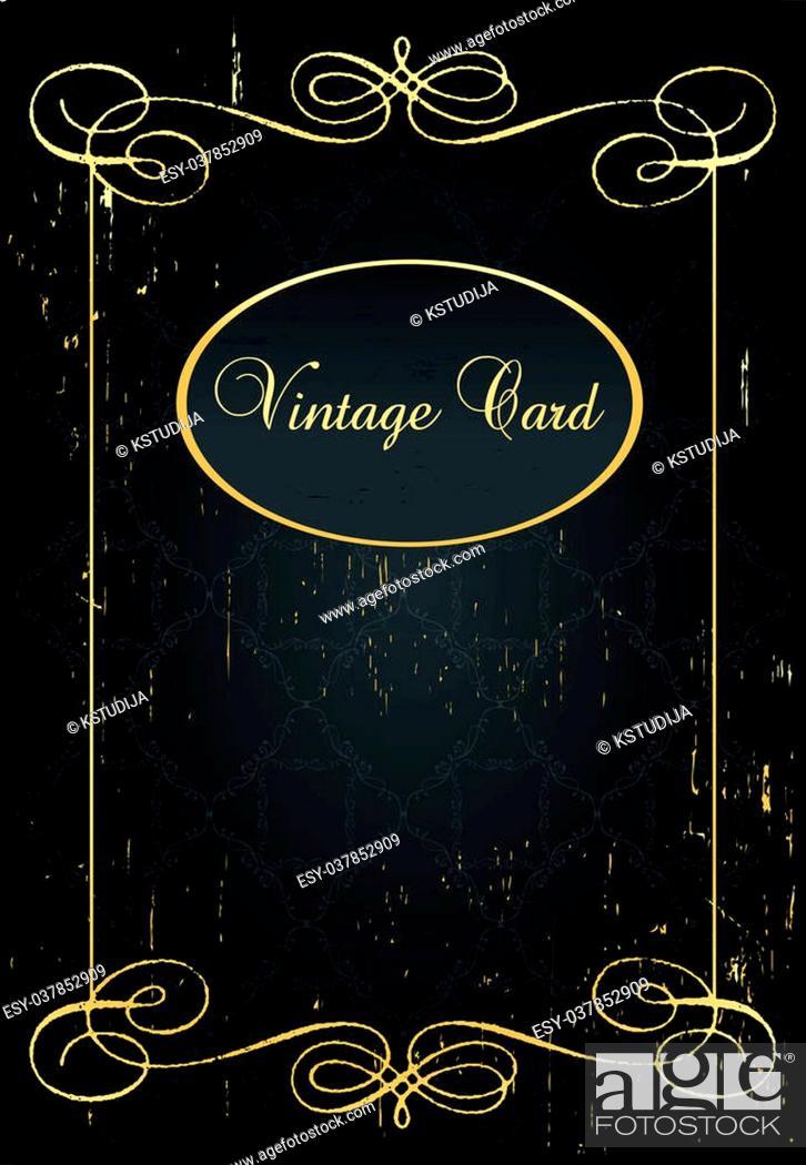 Vector: Luxury golden vintage background elements.