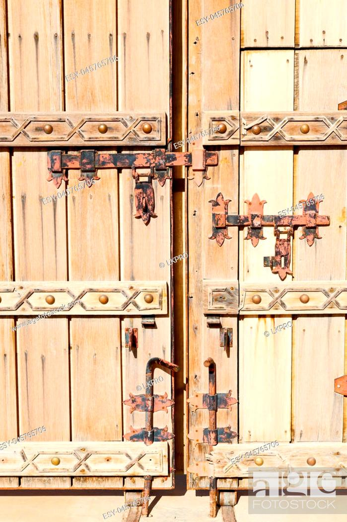 Stock Photo: texture and abstract background line in oman old antique door.
